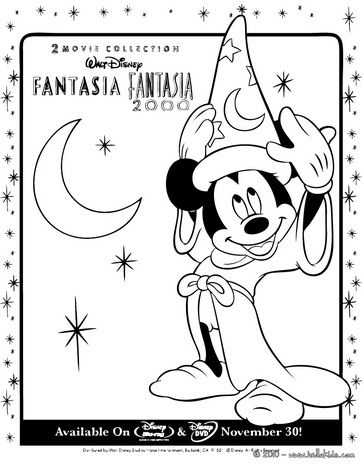 Fantasia Mickey Mouse With Hat 3 Coloring Page With Images