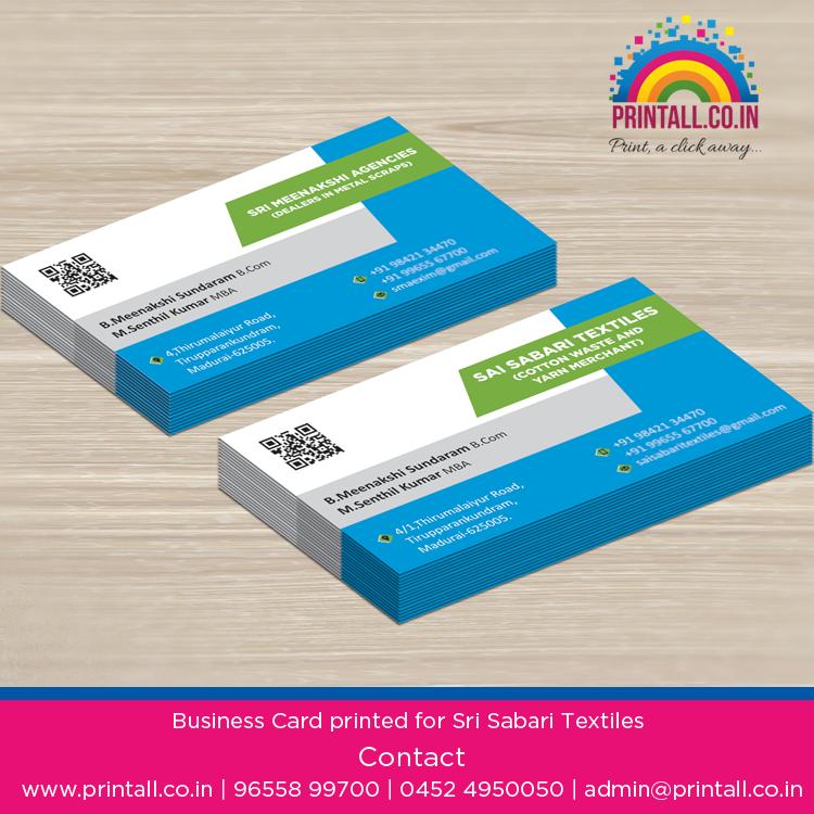 Business Card Printed For Sai Sabari Textiles Printing Business Cards Printed Cards Visiting Card Printing