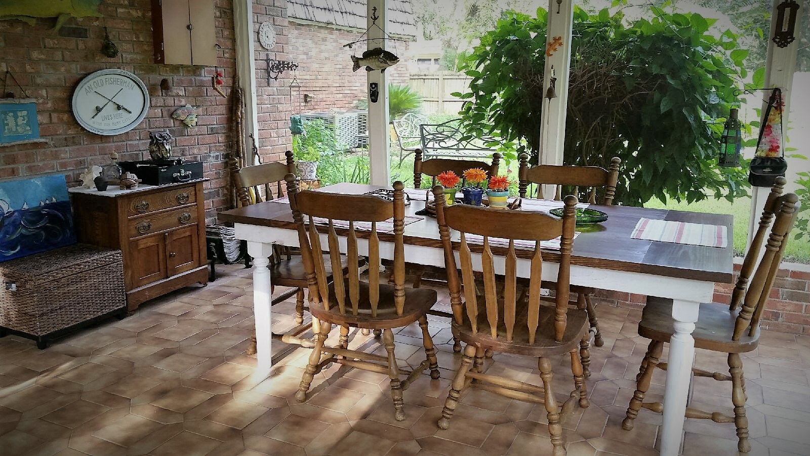 4x7 Rustic Patio Farm Table With Bread Boards And Spindle Legs
