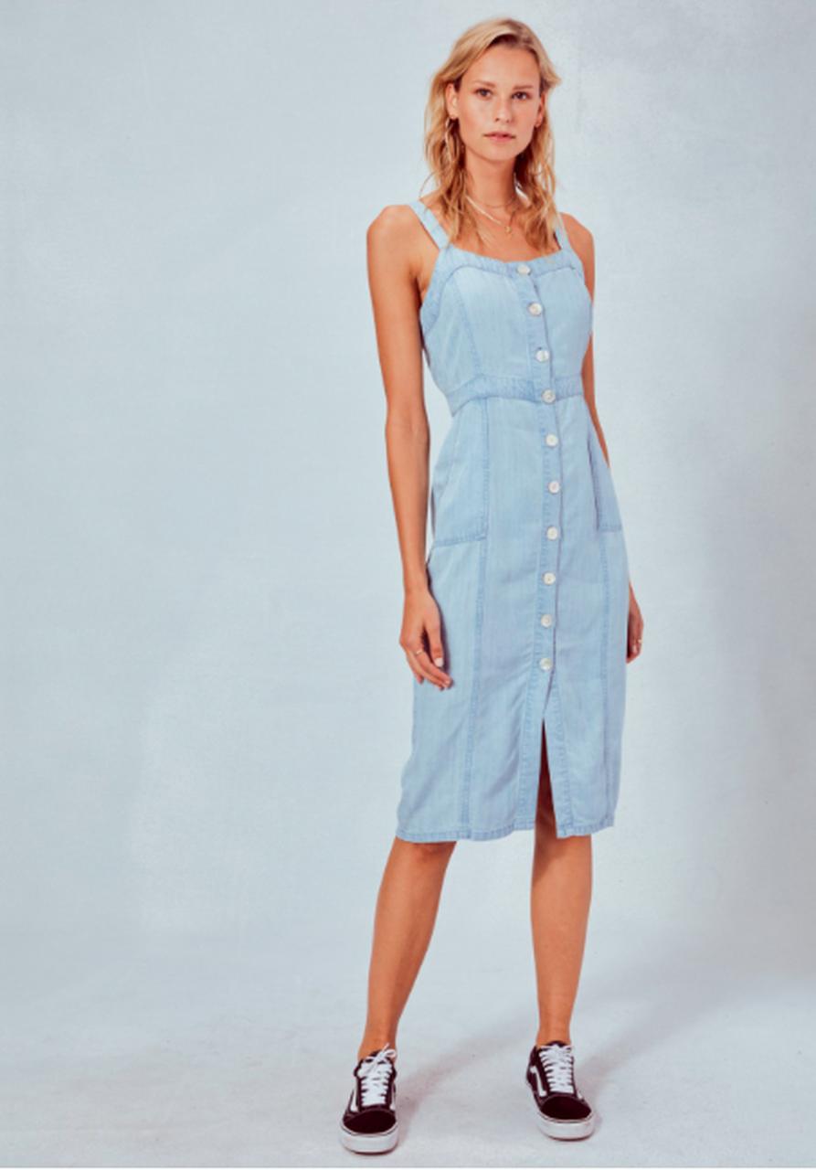 Light Blue Chambray Midi Tank Dress Button Down Denim Dress Midi Short Sleeve Dress Midi Dress Outfit [ 1280 x 893 Pixel ]