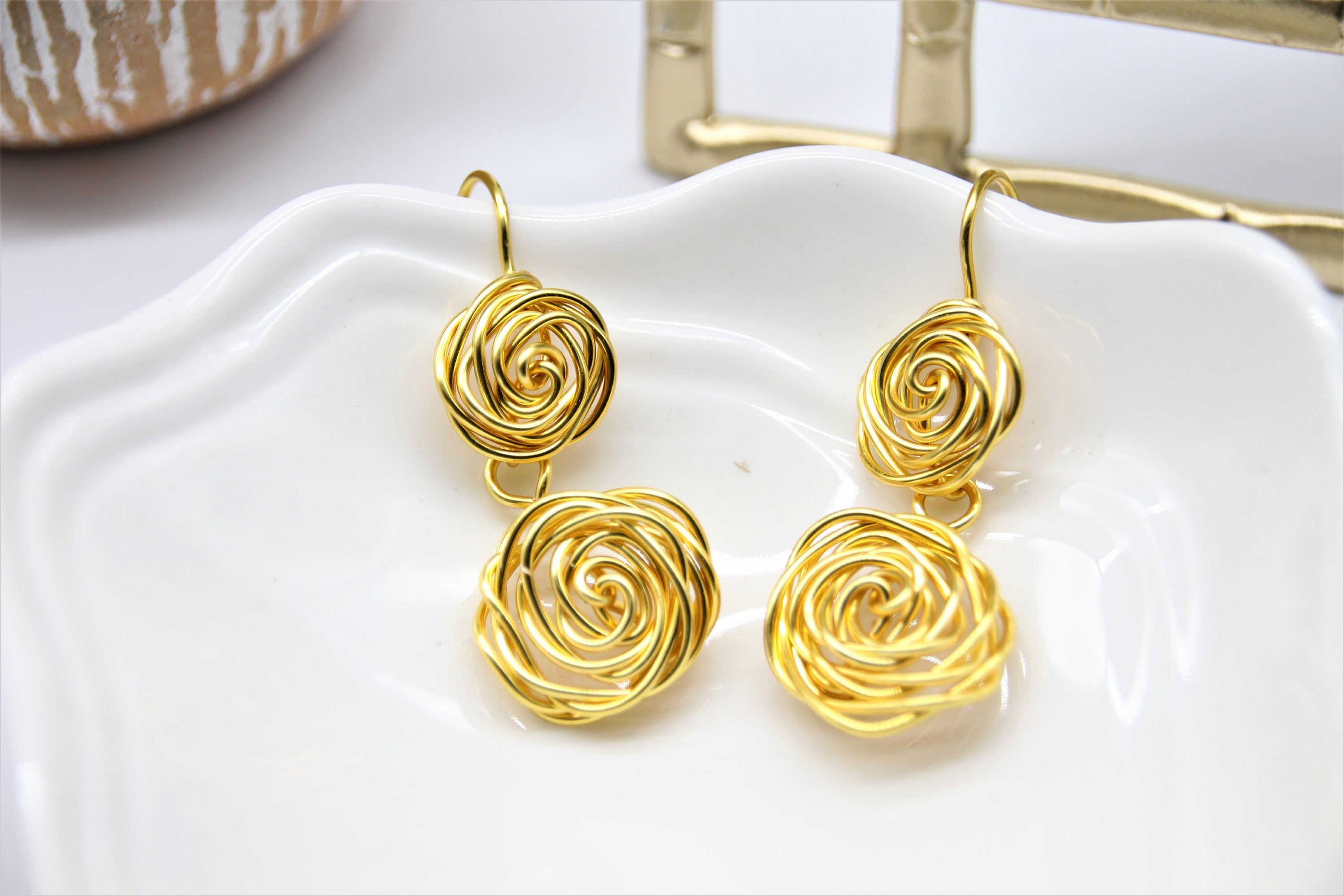 Rose Earrings Gold Rose Earrings Dangle Rose Earrings Etsy In 2020 Rose Earrings Etsy Earrings Rose Jewelry