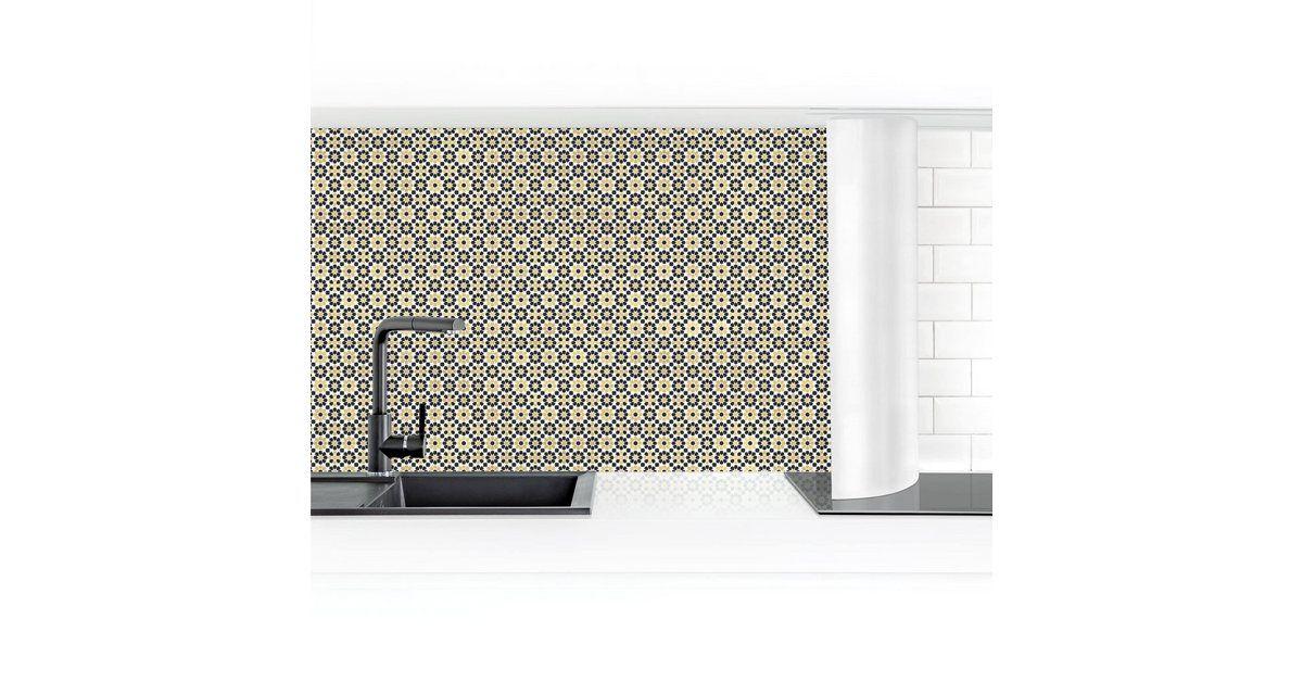 Küchenrückwand »Orientalisches Muster mit goldenen Blüten«