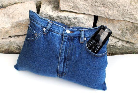 Aufwärtstrends Recycling Designer Denim Jeans TV Remote Control Speicherung Pocket Kissen