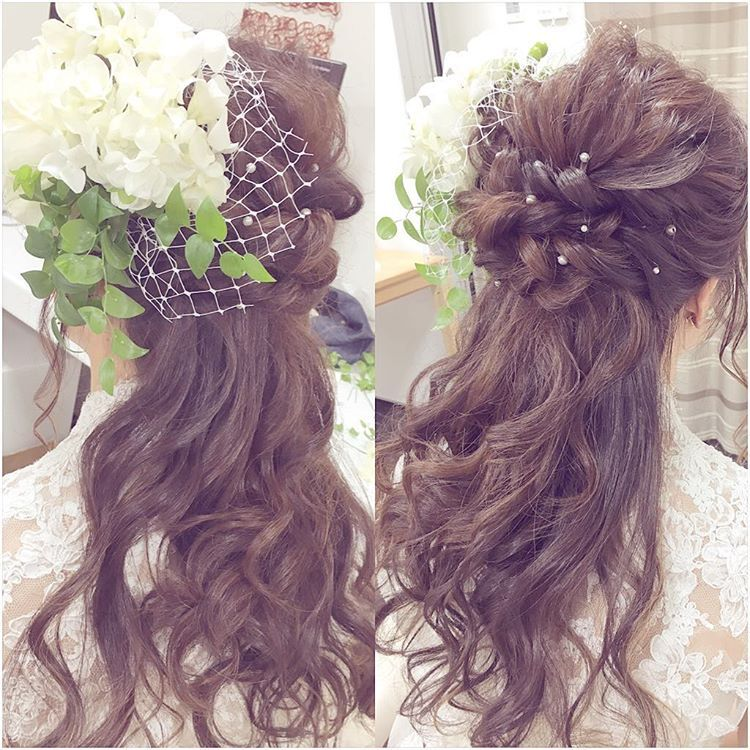 ハーフアップ ハーフ花冠の結婚式ブライダルヘアカタログ Marry
