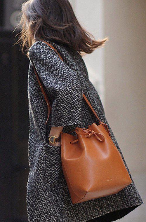 Manteau gris sac camel