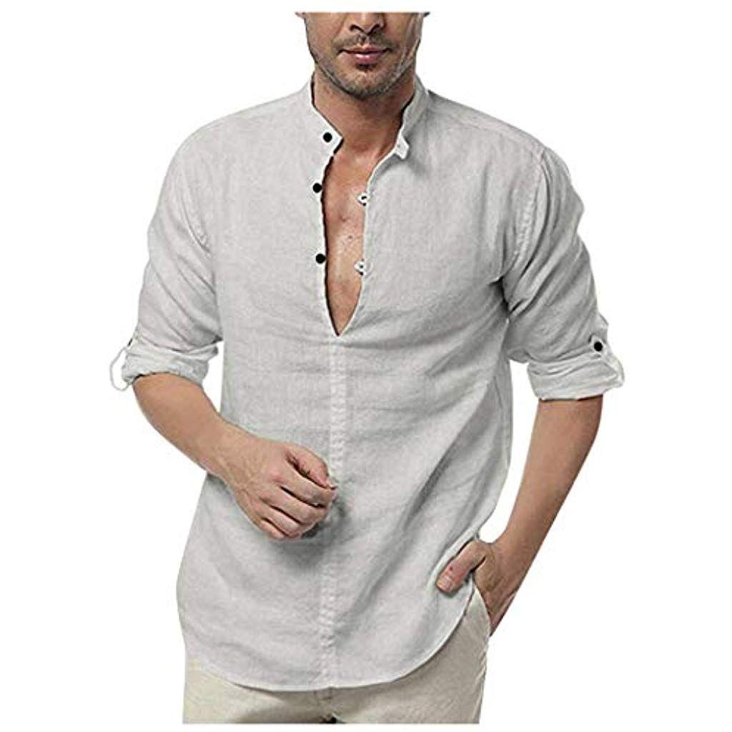 huge discount 144dd 7a2bb Rosennie Herren Hemden Herbst Baumwolle Leinen Shirt Langarm ...