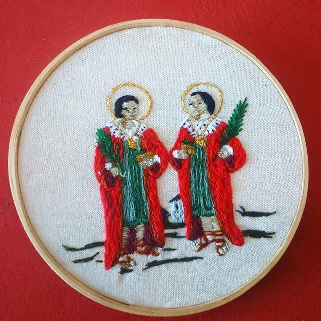 São Cosme e Damião ....aieeee  #embroidery #broderie #bordado #embroideryart #embroideryhoop #saintcosmasanddamian #cosmeedamiao