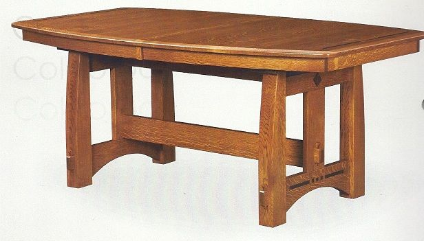 The american bungalow colebrook trestle dining table for Mission style dining table