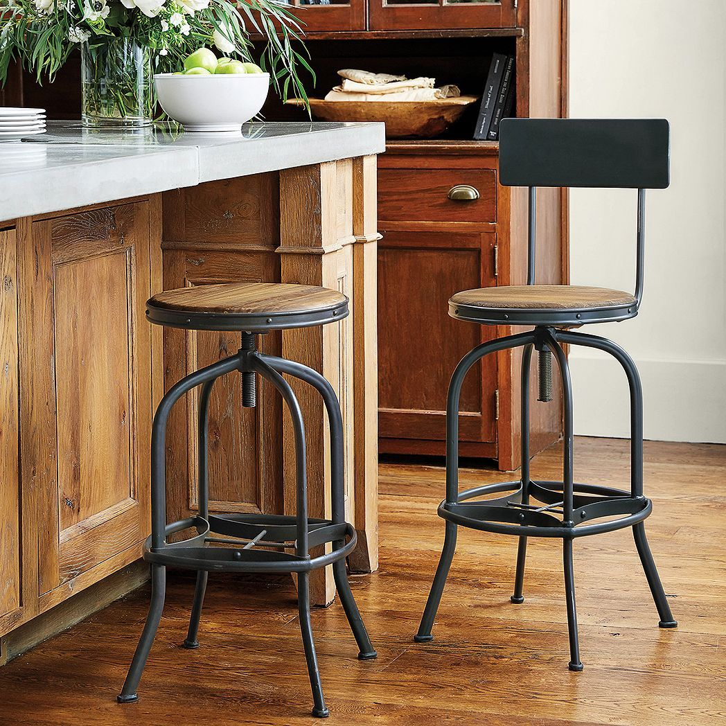 allen stool with back rest | stools, industrial and kitchens