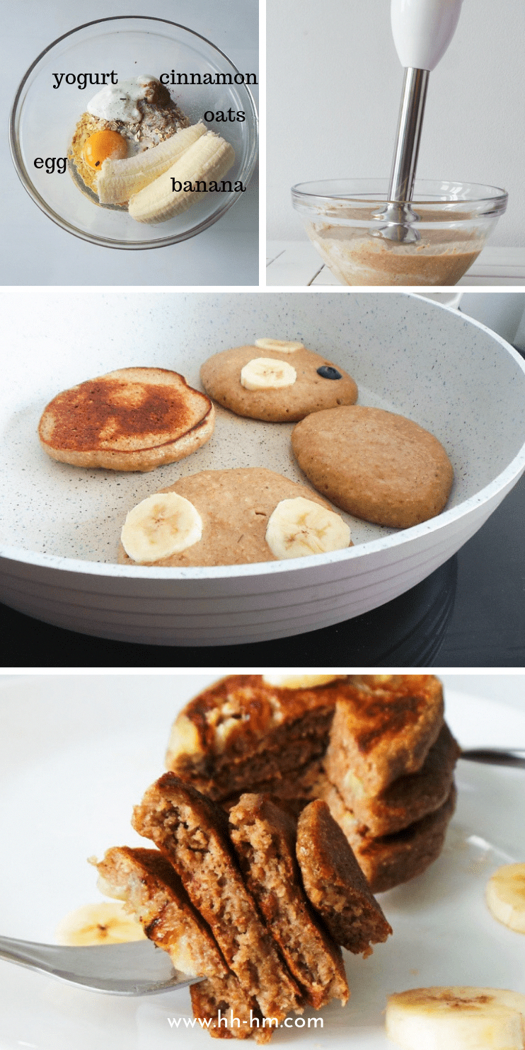 Healthy banana pancake recipe! These banana oatmeal pancakes are a healthy and easy breakfast that i...