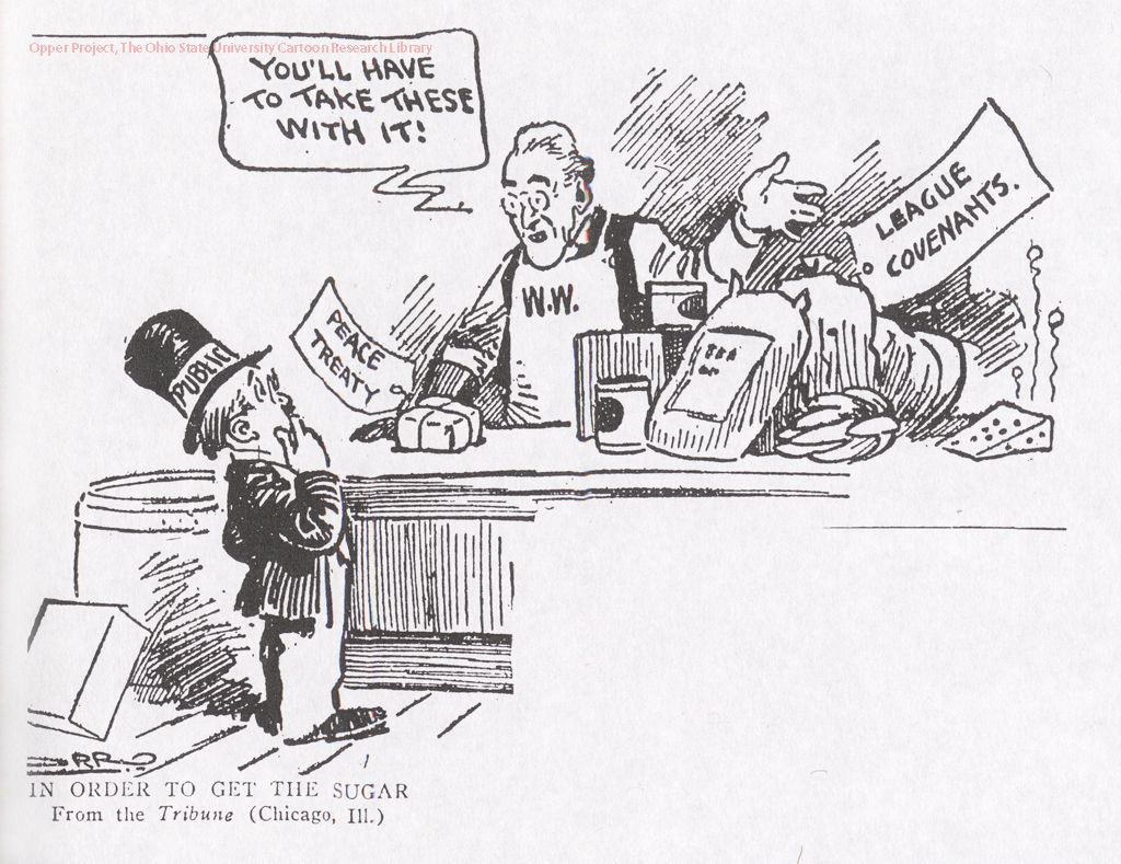 This is a cartoon of the Treaty of Versailles. It shows