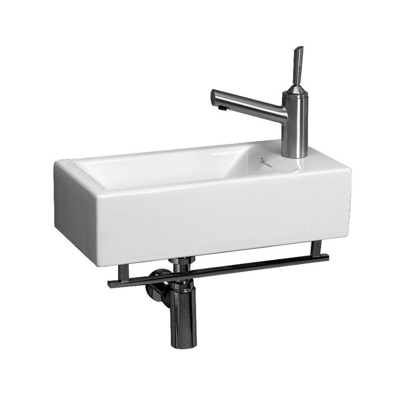 Whitehaus Isabella Collection Wall Mount Bathroom Sink With Towel Bar   Right Side Single Faucet Drilling