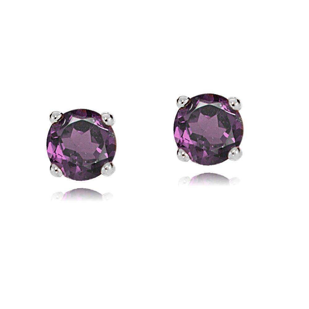 Bria Diamontrigue Jewelry: Bria Lou 14k White Gold African Amethyst 4mm Round Small