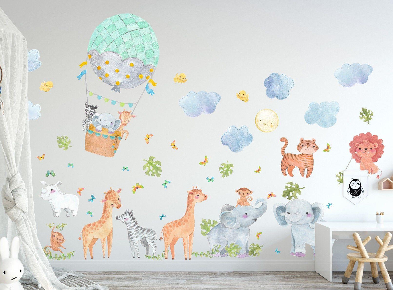 Jungle Animals Decals, Safari Wall Decals, Hot Balloons