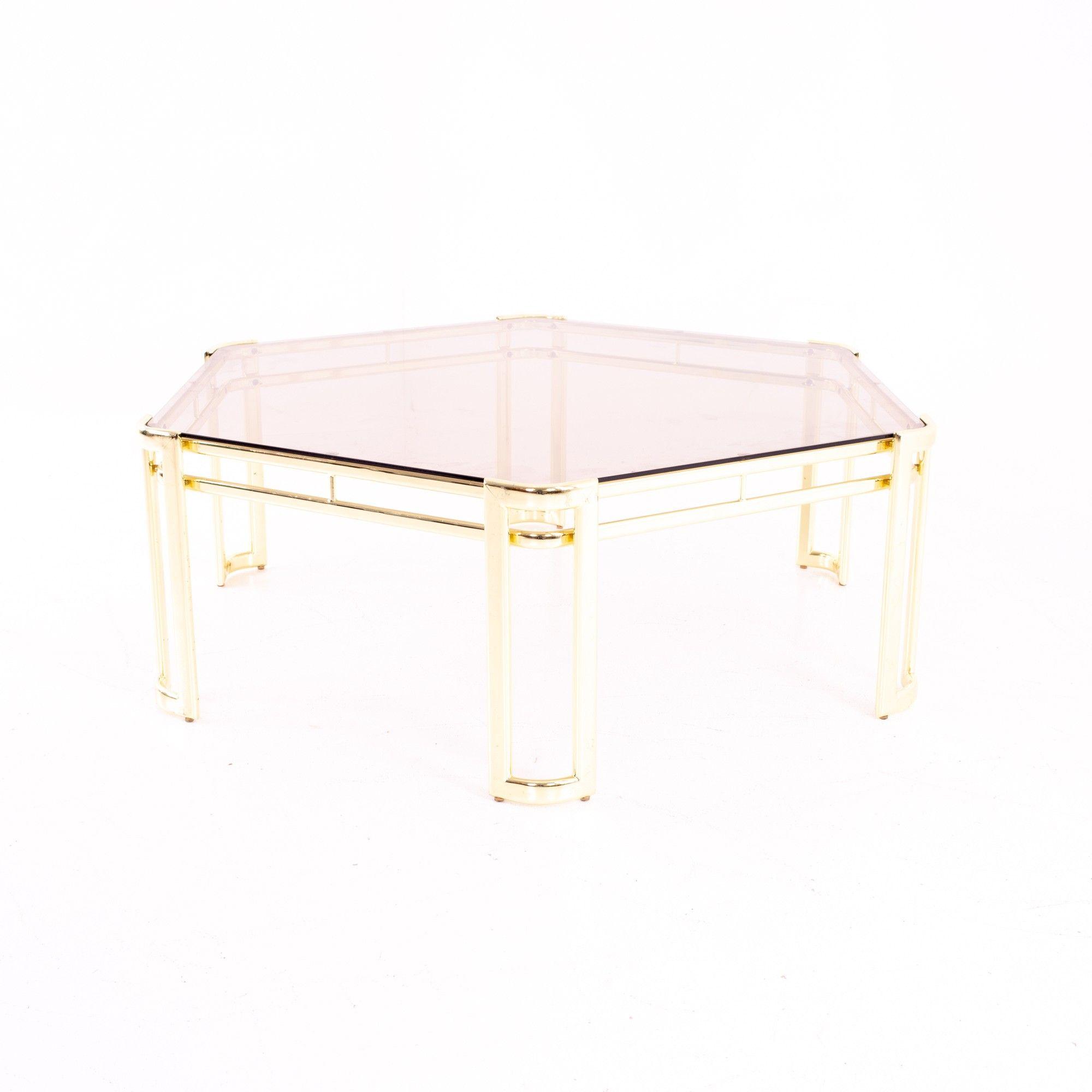 Morex Mid Century Hexagonal Smoked Glass And Brass Coffee Table Brass Coffee Table Mid Century Coffee Table Coffee Table [ 2000 x 2000 Pixel ]