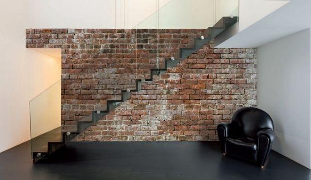 papier peint brique pour un salon de style industriel faux murs en briques faux murs et mur. Black Bedroom Furniture Sets. Home Design Ideas
