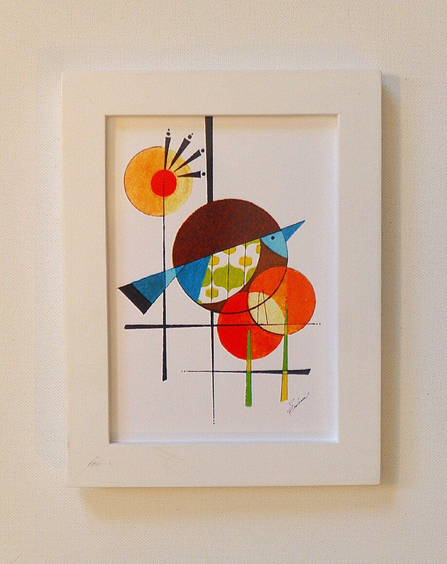 Original Mid Century Modern Bird Art 5x7 Print The Dawn Minimalist And Bold Design Atomic 13 00 Via Etsy