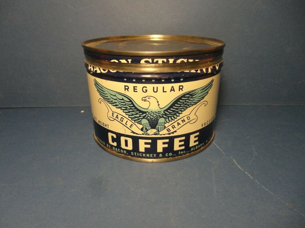 Bacon Stickney 1 Lb Key Wind Coffee Can Albany New York Ebay Coffee Cans Coffee Coffee Branding