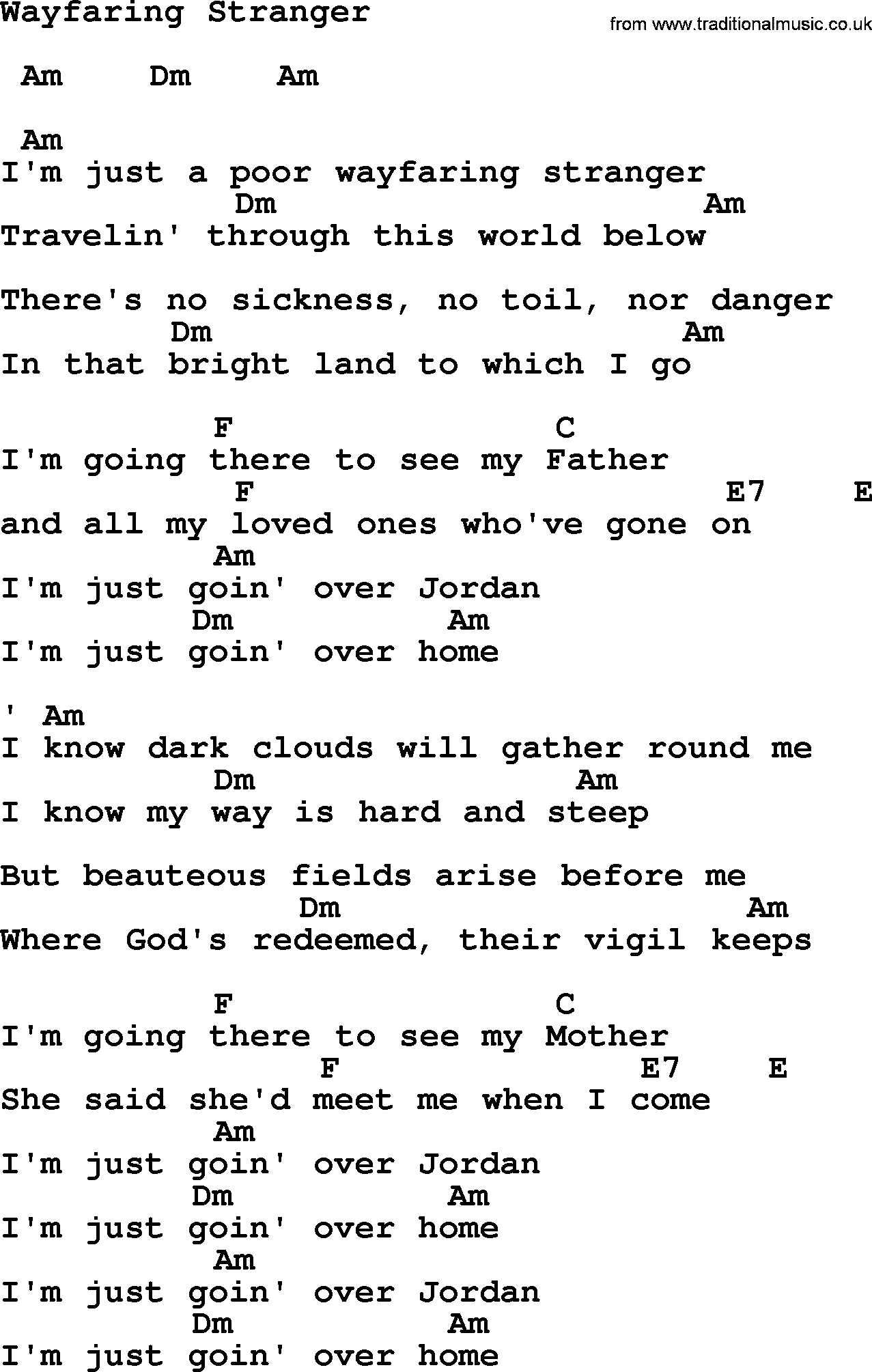 Johnny Cash Song Wayfaring Stranger Lyrics And Chords Songs In