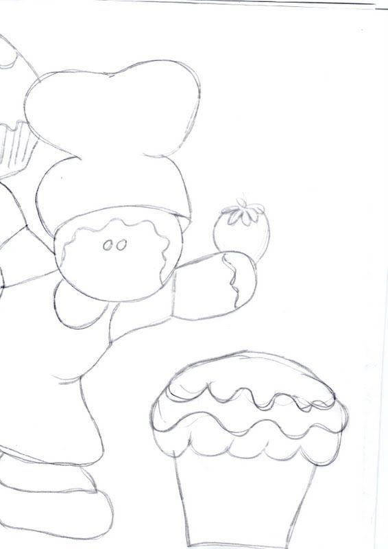 risco boneco ginger com cupcakes 2