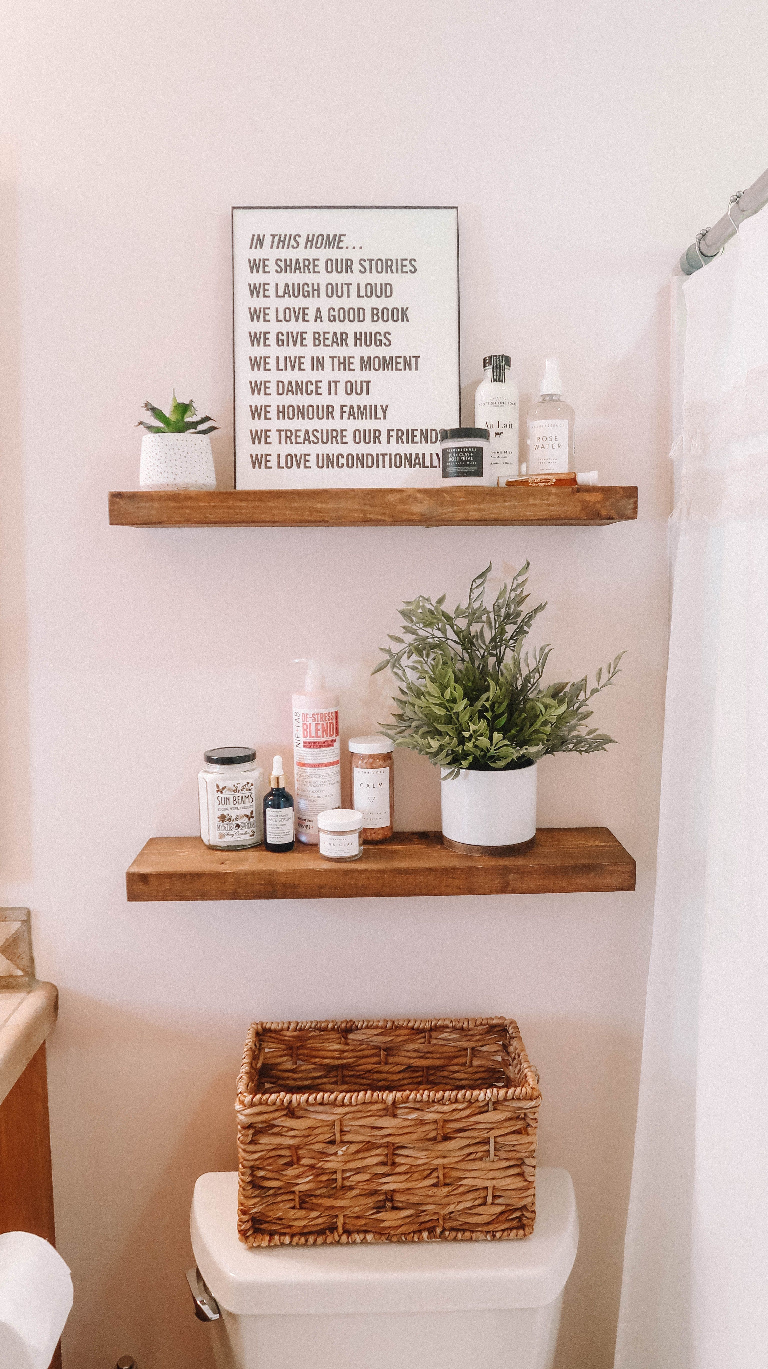 39 DIY Floating Shelves Bathroom Decor You Must Have - Diy bathroom makeover, Boho bathroom, Fall bathroom, Bathroom set blue, Apartment bathroom, Light pink walls - If you would like the strong appearance of metal in your bathroom, have a look at our train racks made from aluminum  Turning a lot of wood crates into wall shelves is actually quick  In some instances, certain sorts of picture frames can likewise be repurposed as wall shelves