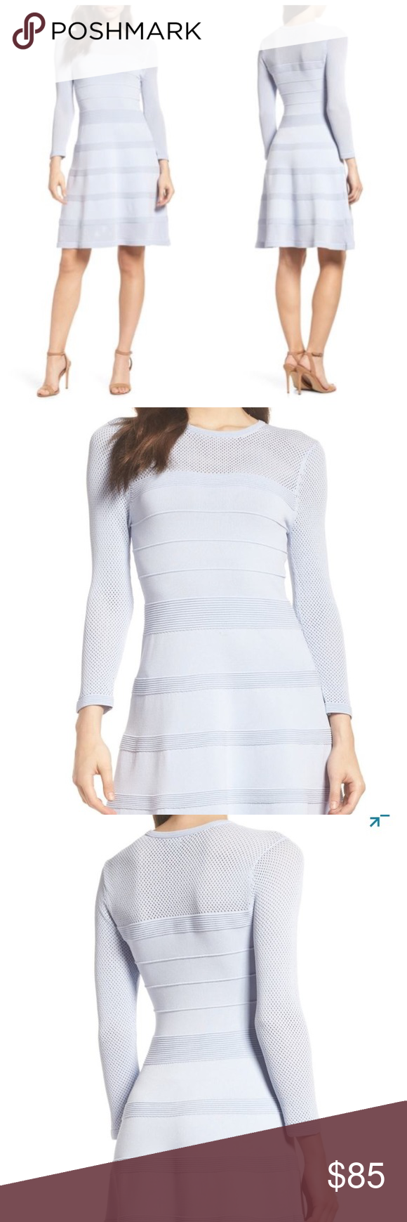 Vince Camuto Mix Stitch Pointelle Dress New Airy open stitching and  textured stripes lend eye- 5664cd405