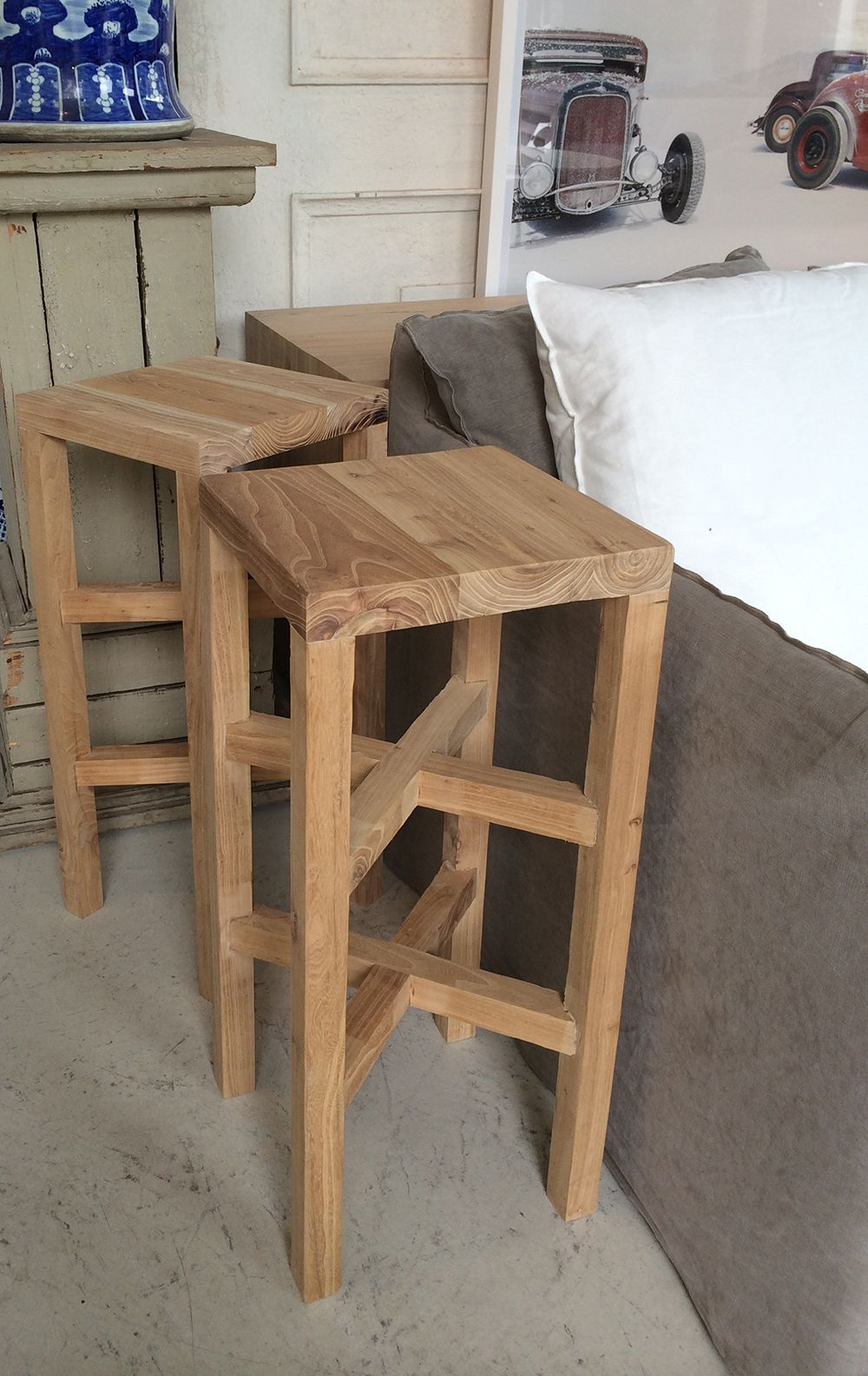 Modern And Contemporary Tall Wooden Bar Stool In Recycled Elm
