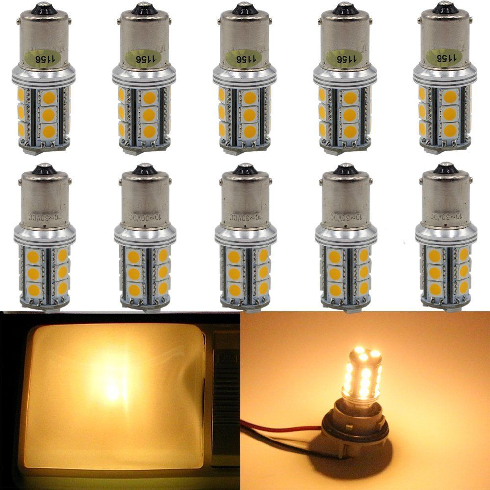 Amazon Com Amazenar 300lums 10 30v Dc Warm White 1156 Ba15s Imported 5050 Chips 18 Smd Led Replacement Bulb 1141 Led Replacement Bulbs Rv Campers Led Lights