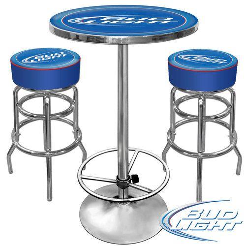 Ultimate Bud Light Gameroom Combo 2 Bar Stools Table Ebay Bar Table And Stools Bar Stools Bar Stools With Backs