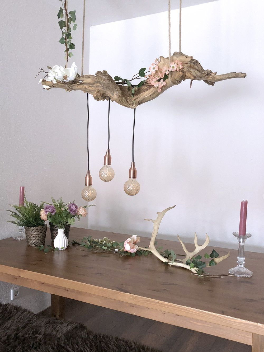 Hängelampen - Treibholzlampe - ein Designerstück von Raeubers-toechter bei DaWanda #holzscheibendeko