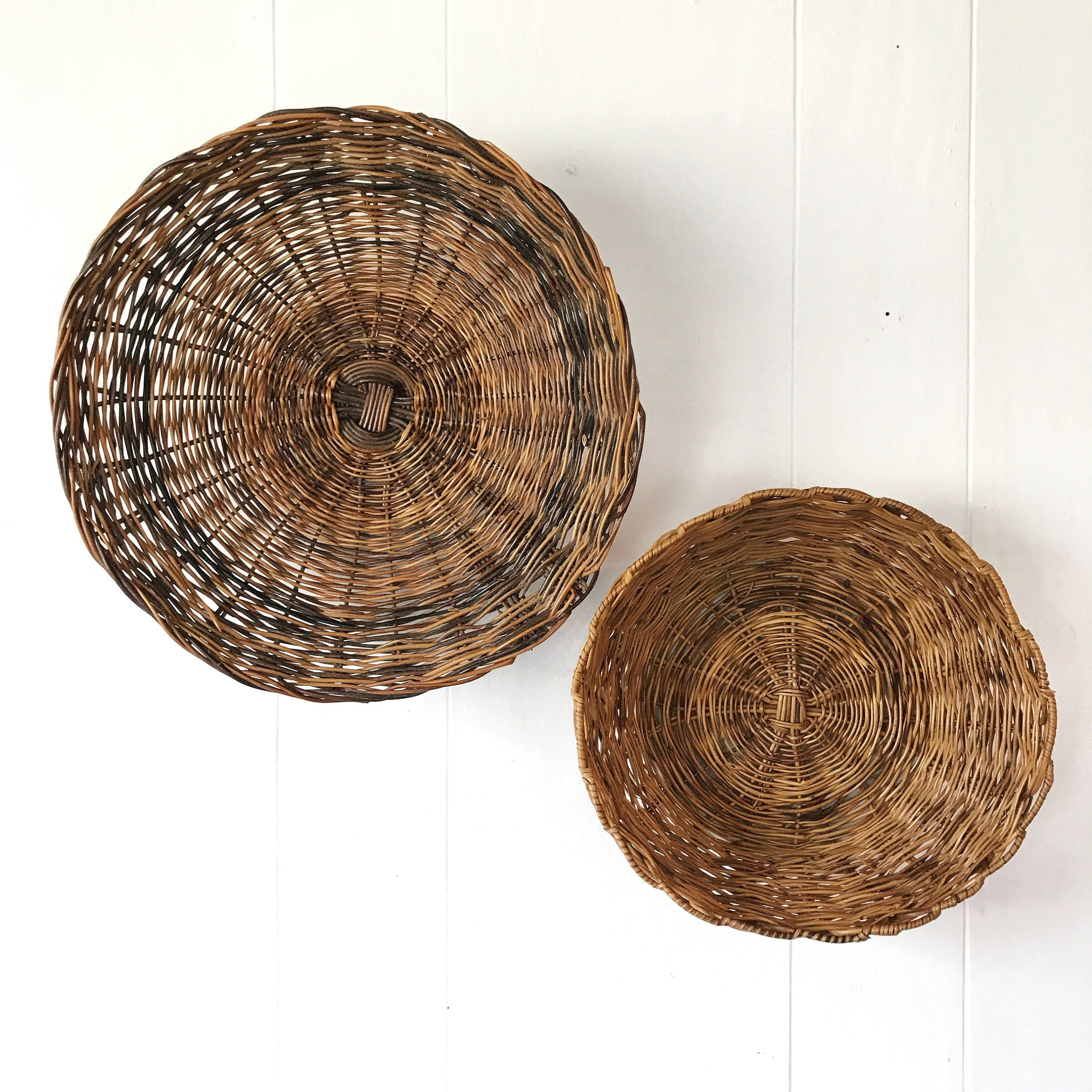woven bamboo basket - round dark brown wicker bowl - boho wall ...