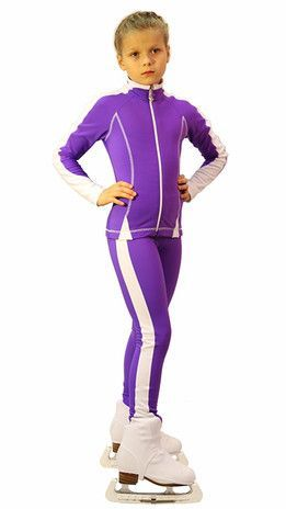 IceDress Figure Skating Outfit -Bracket (Violet with White Line)