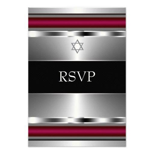 Black Red Star of David Bar Mitzvah RSVP Custom Invites