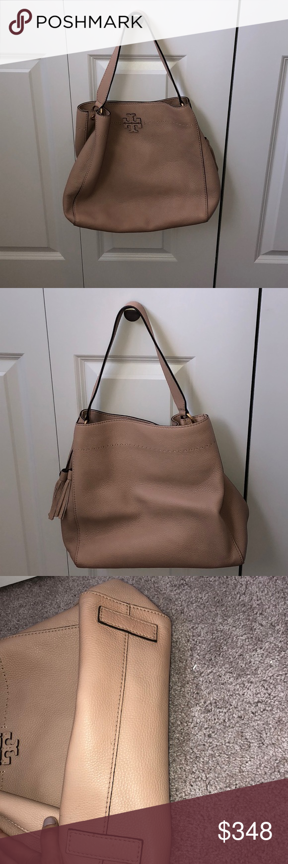 db89a58f680 Tory Burch McGraw Leather Hobo Tory Burch McGraw Leather Hobo. The color is  Devon Sand