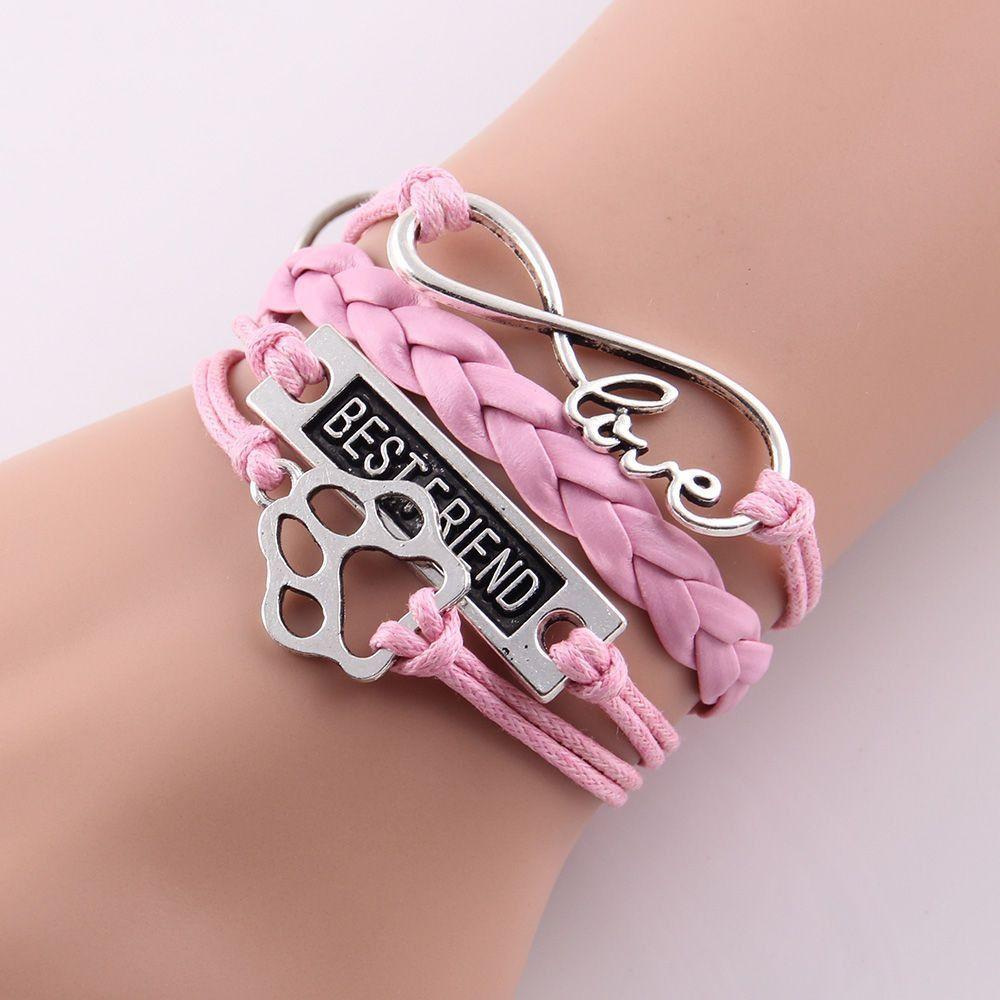 Leather Wrap Infinity Love Best Friend Cat Paw Print Charm Bracelet