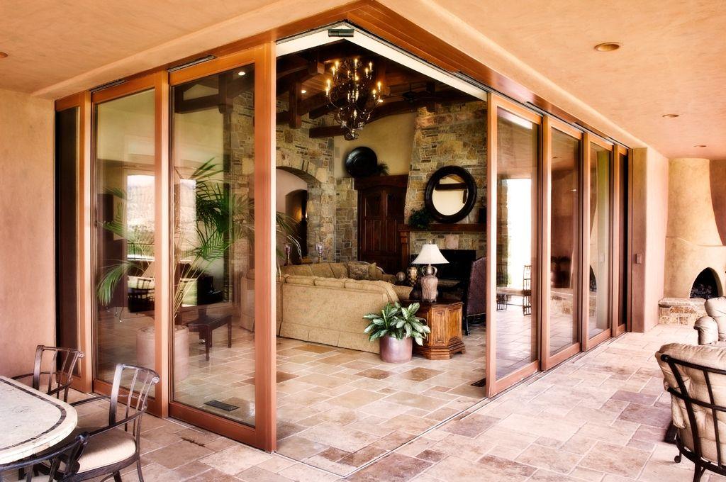 Corner Multi Slide Automated Door System Exterior Design House Design Adobe House