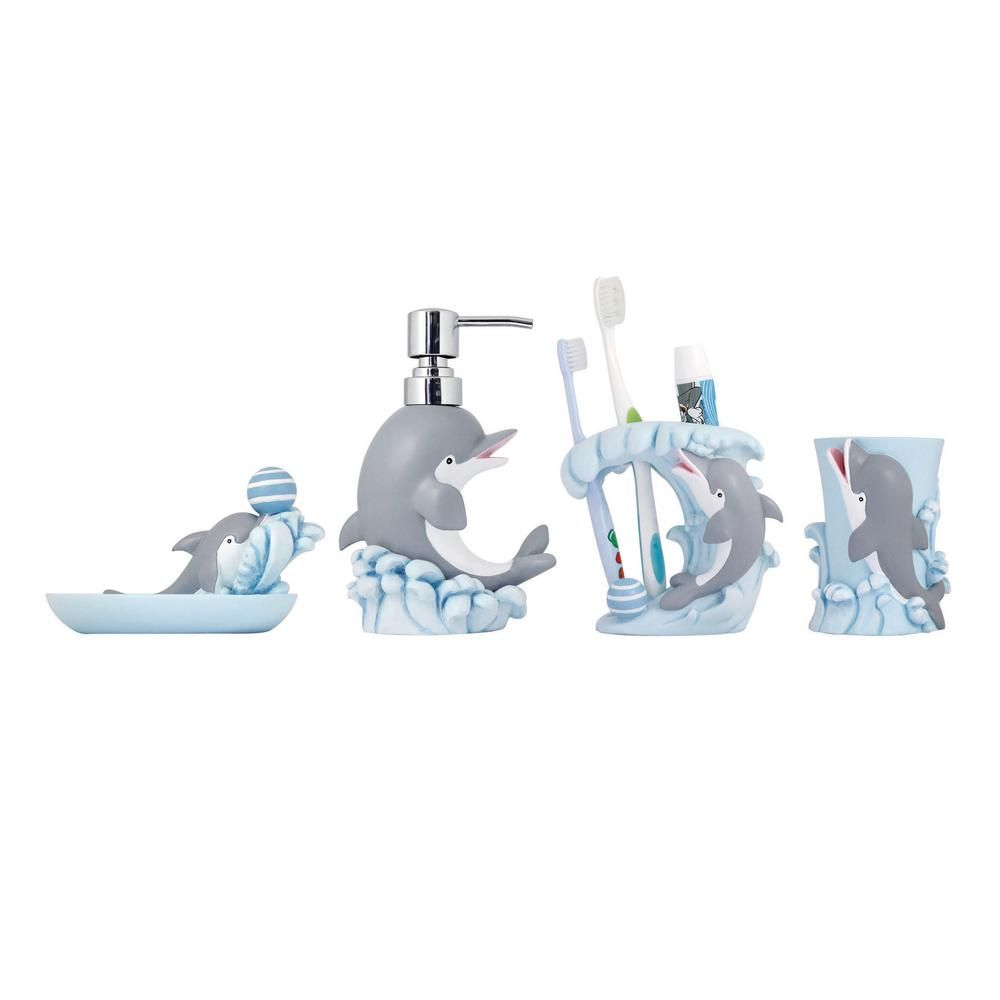 Modona Dolphin 4 Piece Kids Bathroom Accessories Set Painted
