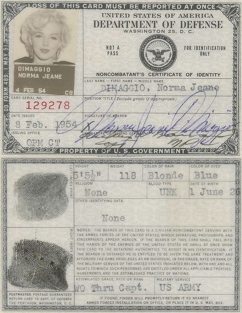marilyn monroe s military id card 1954 marilyn monroe pinterest
