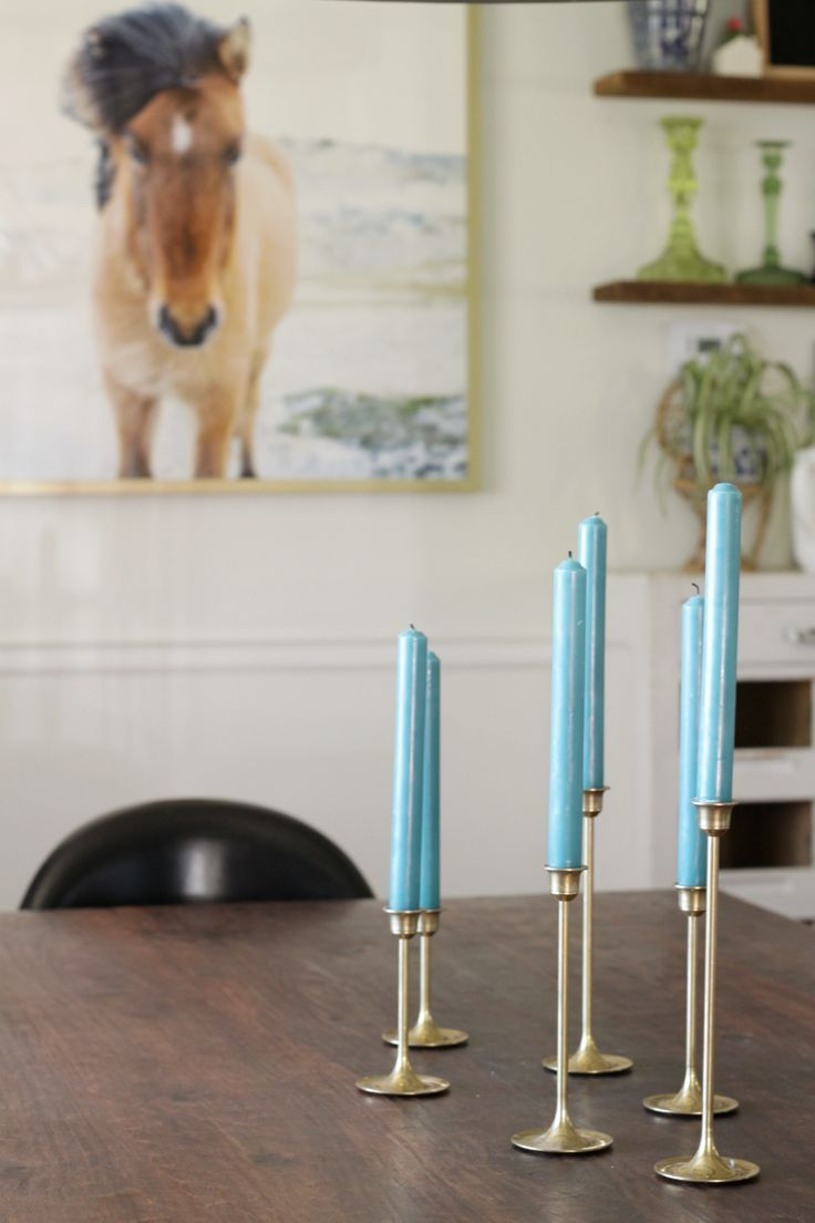 changing candle color is a simple seasonal change- Teal Candles for Color