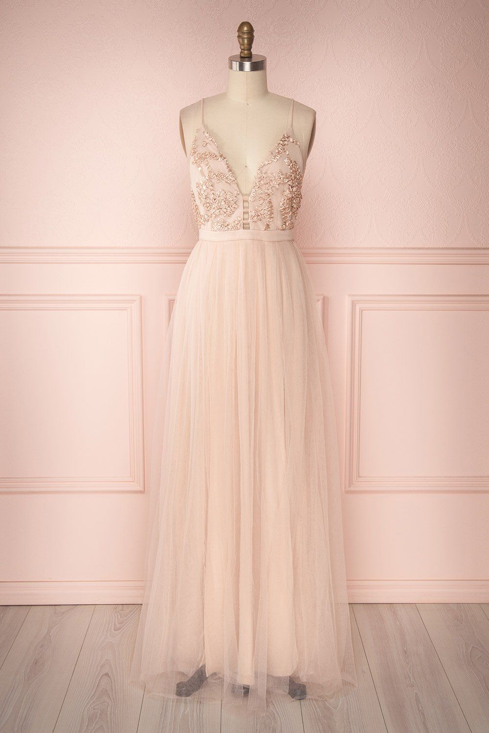 a609df9a1f3 Ruan Blush Pink Embroidered Ribbon Tulle Prom Dress