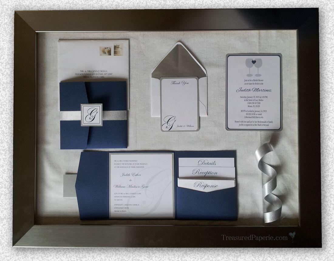 modern wedding invitation suite treasured paperie royal blue silver square pocket - Royal Blue And Silver Wedding Invitations
