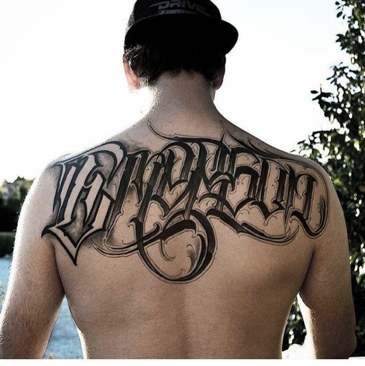 Back tattoos Writing tattoos