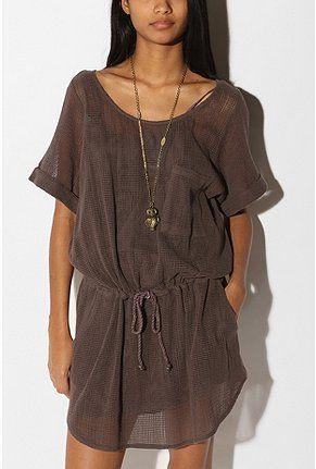 Ecote Mesh Drawstring Dress