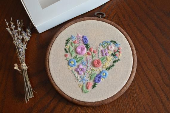 Love is not about how many hours, days, months, or years you've been together, love is about how much you love each other every day.  When we fall in love, our hearts seem to be filled with the highest emotions it's similar as this embroidered heart is filled with the brightest, beautiful flowers. #embroidery #embroideryart #handmade #embroideryhoopart #art  #design  #fiberart #handembroidery  #embroideryhoopart #artwork #handcraft #modernembroidery #embroiderylove