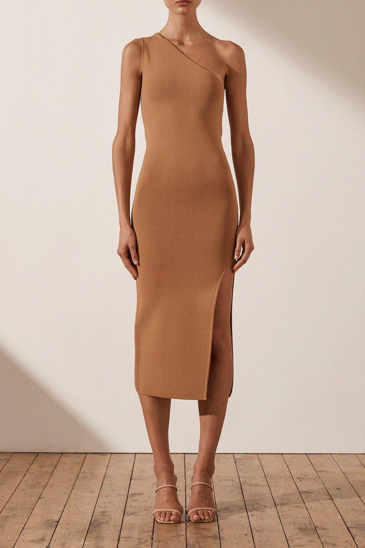 Basic One Shoulder Midi Dress Tan In 2021 Simple Midi Dress Basic Midi Dress Tight Midi Dress [ 1500 x 1000 Pixel ]