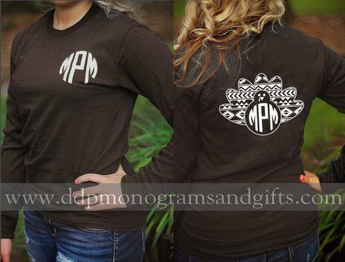 ea9188762 Personalized full back aztec turkey long sleeve shirt