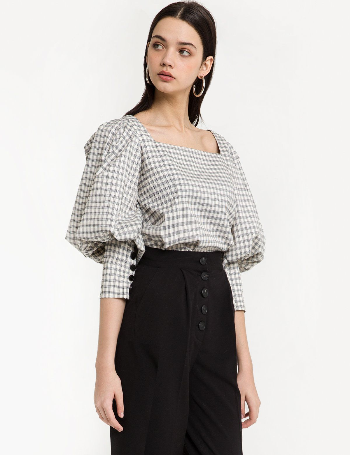 8627485eddc3b Estimated Delivery January 15 Plaid Puffy Sleeve Shirt with Gathered Button  Cuff Made by us50% cotton
