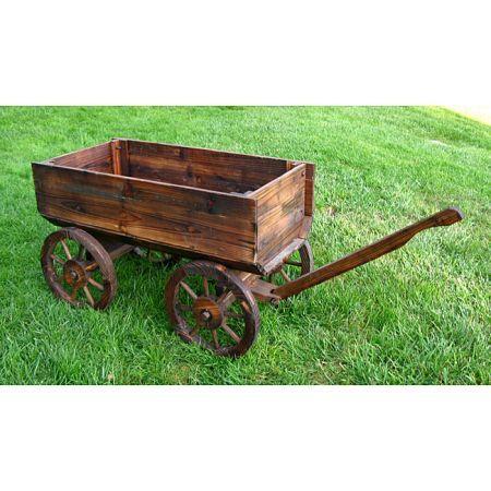 Brown Cedar Wood Wagon Garden Decoration Wood Wagon Wooden Wagon Red Wagon