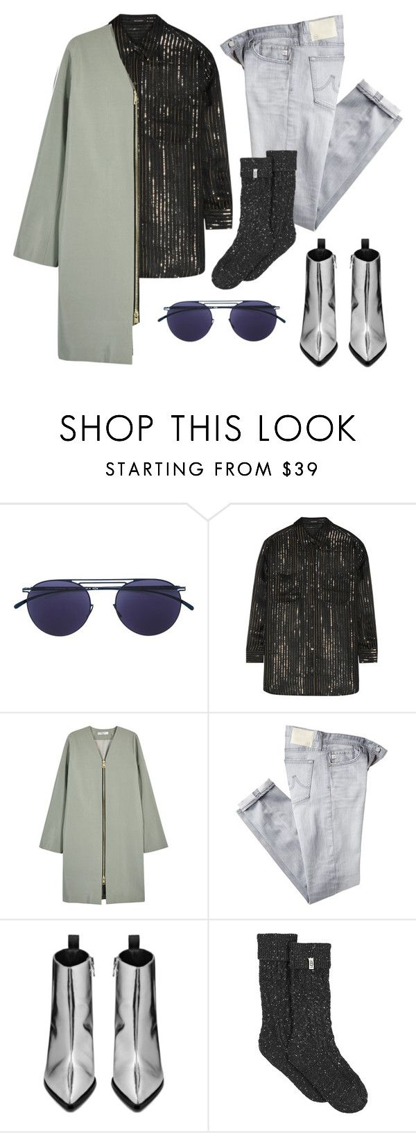 """""""221. Chic grunge"""" by sollis ❤ liked on Polyvore featuring Mykita, Equipment, Lanvin, AG Adriano Goldschmied, Acne Studios, UGG, StreetStyle, grunge, metallic and StreetChic"""