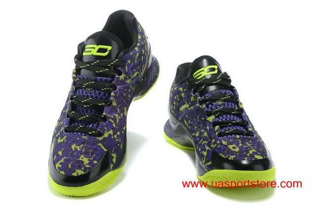 new style ae765 32f9d Under Armour Curry 1 Low Camo Purple Green Black Basketball Shoes For Men